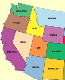 map of the western united states