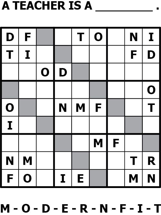 Sodoku Puzzle: A Teacher is a _________