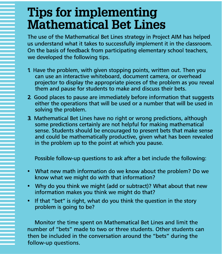 Supporting Sense Making with Mathematical Bet Lines - National
